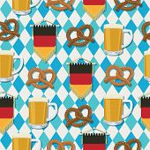 foto of pretzels  - seamless oktoberfest pattern with beer pretzels and german pennants with clipping path and transparencies - JPG