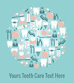 Dental Care Graphics Arranged in Circular Pattern