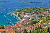 Island Town Of Hvar Aerial View