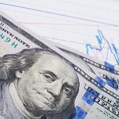 Stock Market Candle Graph With 100 Dollars Banknote
