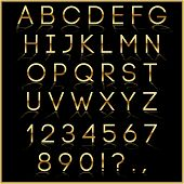 pic of punctuation  - Vector gold alphabet letter - JPG