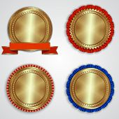 Vector set of round golden badge labels with ribbons and place for text