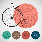Vector set of bicycle on colored backgrounds
