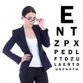 Young Attractive Business Woman In Eyeglasses And Eye Test Chart Isolated On White