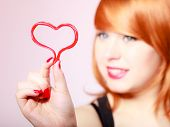 Redhair Woman Holding Valentine Red Heart