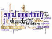 picture of equality  - Equal opportunity issues and concepts word cloud illustration - JPG