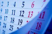 Close Up Calendar Numbers Portrait