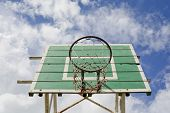 A Basketball Basket On Weathered Green Wooden Facade. Basketball Hoop.