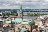 View of Hamburg from the top point of the old center and the lake