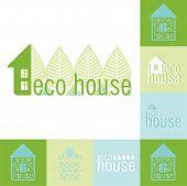 Eco Bio House Emblem Set Of Design Elements