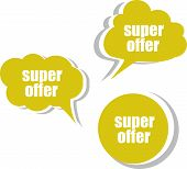 Super Offer Words On Modern Banner Design Template. Set Of Stickers, Labels, Tags, Clouds
