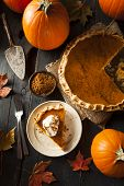 pic of pumpkin pie  - Homemade Pumpkin Pie for Thanksgiving Ready to Eat - JPG