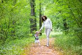 Beautiful Young Pregnant Woman And Her Baby Daughter Walking In An Autumn Park