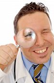 Doctor's Eye In The Magnifying Glass