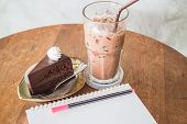 Easy Meal Of Chocolate Cake And Drink