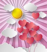 Vector Illustration  Sunshine With Balloon Heart.