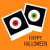 Instant Photo With Eyeball Bloody Streaks. Happy Halloween Card. Flat Design Style.