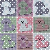 patchwork background with dogs
