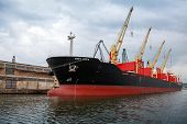 Big Industrial Ship With Cranes Is Loading In Varna Port