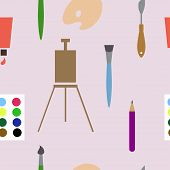 Vector seamless background with art materials
