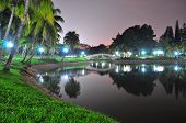 Night scenic landscape with reflection on a pond