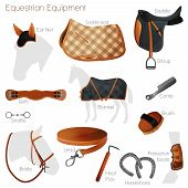 stock photo of girth  - Set of equestrian equipment for horse - JPG