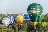 Minsk, Belarus. 13-september-2014: Hot Air Baloon Flying At The Championship Of Belarus