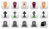 Halloween, graveyard icons set - coffin, cross, grave