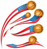 Basket Ball Set  With Usa Flag