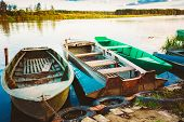 Old Fishing Boats In River