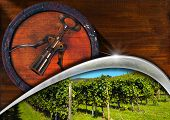 Corkscrew With Wooden Barrel And Vineyard