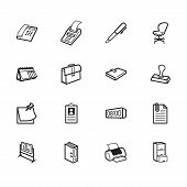 Office Element Vector Black Icon Set On White Background
