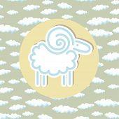 Ram Emblem Circle Clouds Background Design Linear