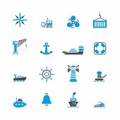 Sea port icons set