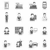 Set icons salesman black