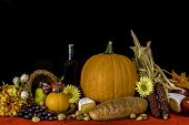 picture of cornucopia  - autumn cornucopia of fruits - JPG