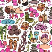 Spa sketch seamless pattern color