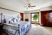 image of master bedroom  - Master bedroom with iron frame bed and green tree in the corner - JPG