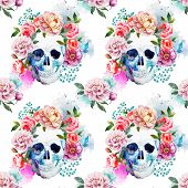 image of sugar skulls  - Beautiful watercolor vector pattern with nice skull - JPG