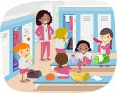 stock photo of stickman  - Stickman Illustration of Girls Changing in the Locker Room - JPG