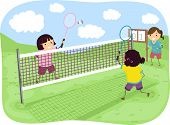 Stickman Illustration of Girls Playing Badminton in a Park