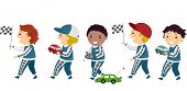 Stickman Illustration of Boys in Racing Uniforms Holding Race Car Toys