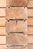 Cut of wooden wall of house