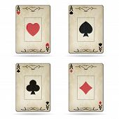 picture of ace spades  - Ace of spades ace of hearts ace of diamonds ace of clubs poker cards set old look isolated on white background - JPG