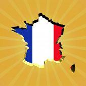 France sunburst map with flag illustration