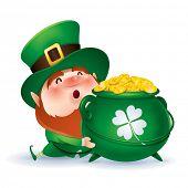 Leprechaun holding a pot of gold