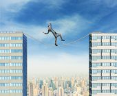 Businesswoman on the rope