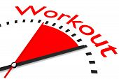 Clock With Red Seconds Hand Area Workout Illustration