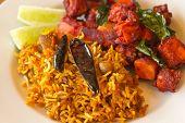 image of kadai  - Crispy spicy Kadai Paneer Tofu with tamarind rice and lime wedges - JPG
