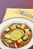 picture of tabouleh  - Red Quinoa Tabbouleh salad with juicy grilled chicken and cucumbers with chopped parsley - JPG